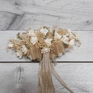 Tocado con Pasador Flores Beige