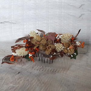 Tocado con Peineta colección Otoño con flores de Cobre
