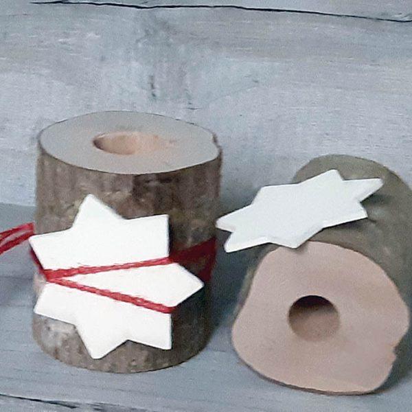 Bote Madera con Estrella de Navidad