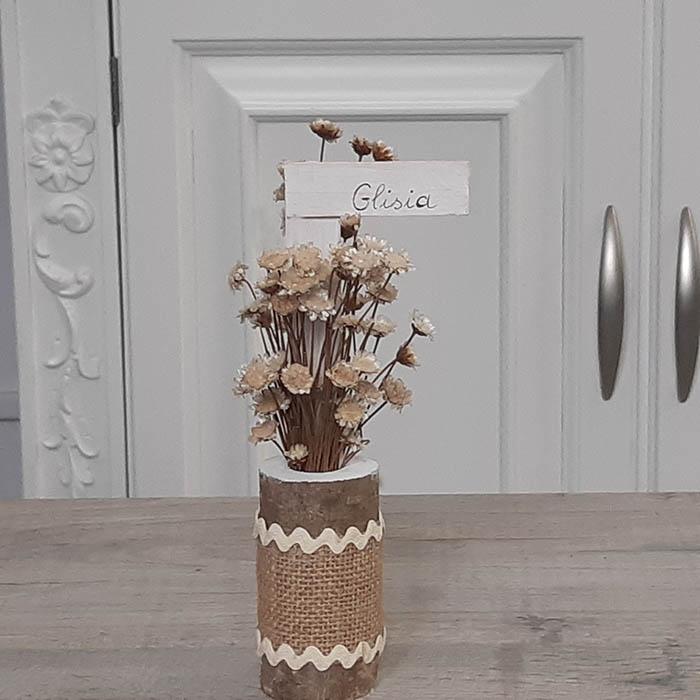 Bots de tronco natural con flor seca Glixia