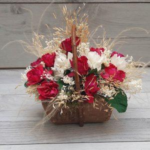 Cesta de Flores Secas y Rosas Artificiales