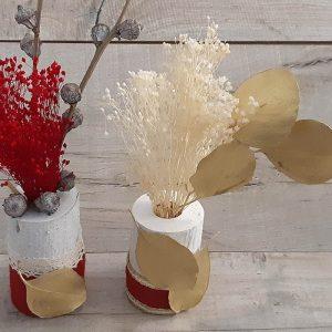 Decoración de Navidad bote flor seca