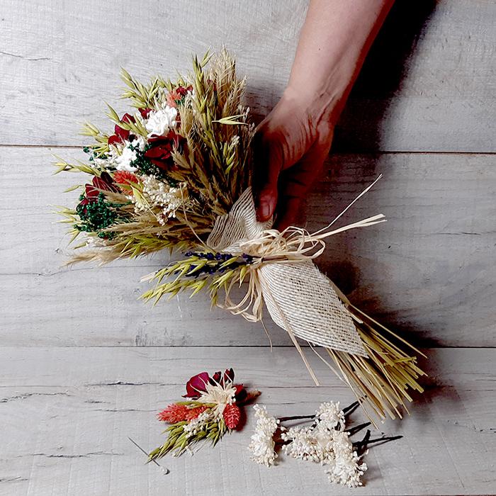 Set Flores para Bodas Ramo solapa y horquillas