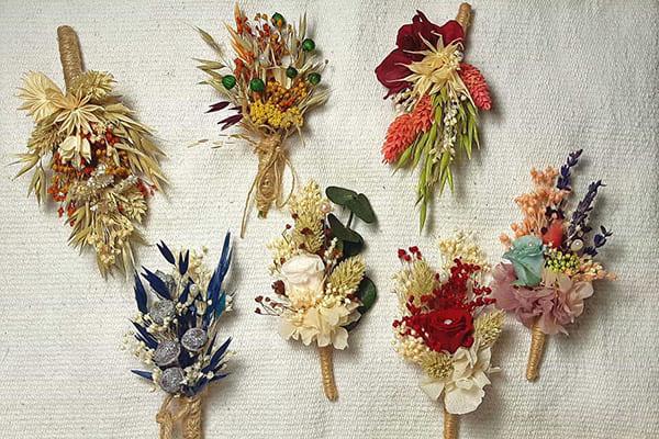 Solapas de novio para flor seca