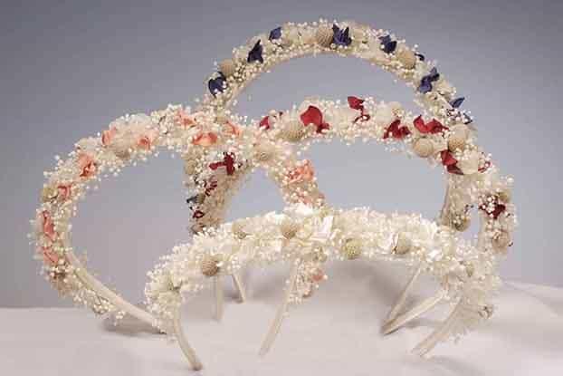 Diademas de Orfebreria con flores secas