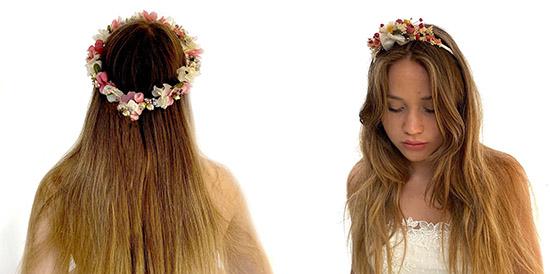 Coronas de flores secas para el pelo