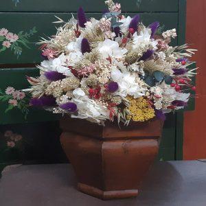 Centro Flor Seca Barroc. La calidez de las flores secas y preservadas, en colores vivos y otoñales