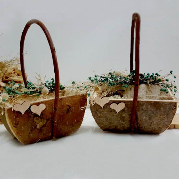 Set de cestas para llevar los anillos y las arras de boda