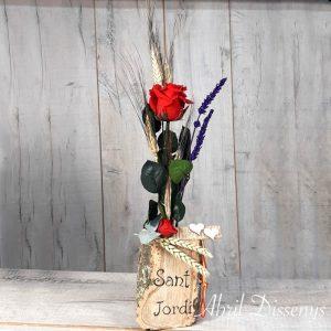 Jarrón de Madera con Rosas y Trigo