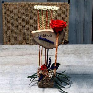 Media Luna de Madera con Dos Rosas