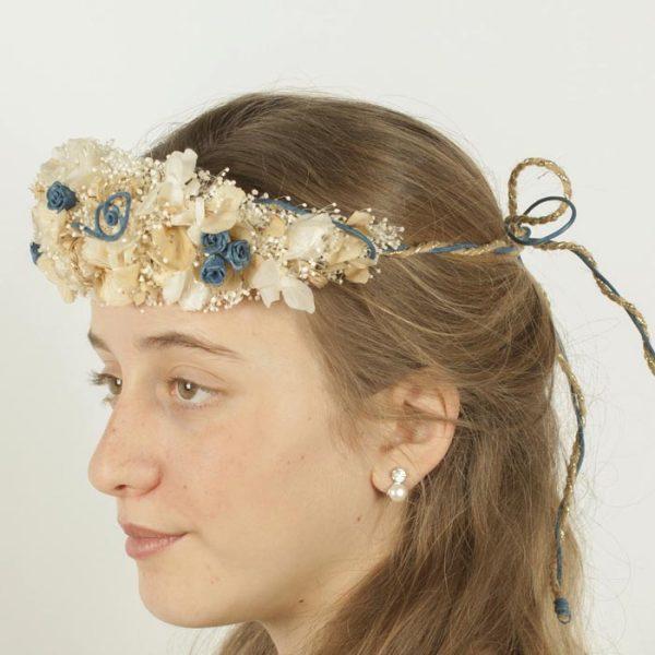 Tiara de Flores Azul y Oro
