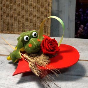 Corazón con una Rosa Sant Jordi y Peluche