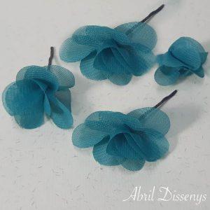 Flores Pequeñas Pelo Hortensia de Gasa Turquesa