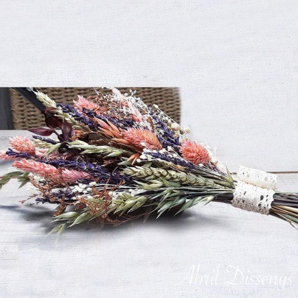 Ramo Mediano Flor Rosa y Lavanda