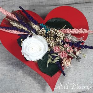 Corazón de Madera con Rosas Color