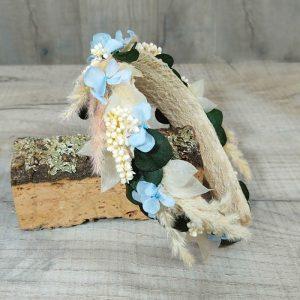 Diadema de Hortensia Azul y Pampa