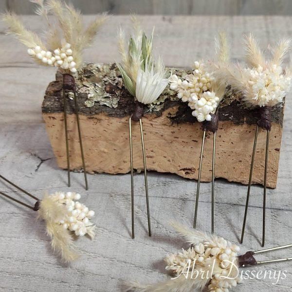 horquillas flores preservadas novias