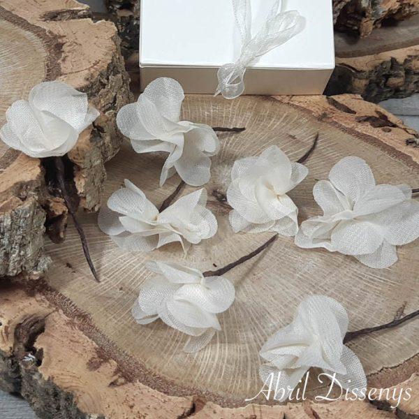 Set de 7 Flores Pelo de Hortensia Beige