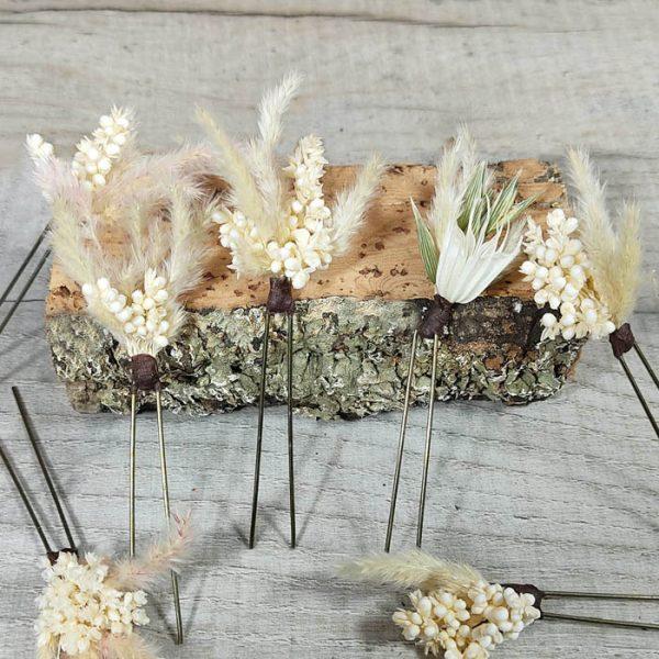 Surtido horquillas flores preservadas novia