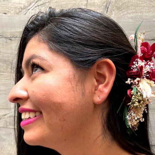 Horquillas Flor Rosa y Burdeos