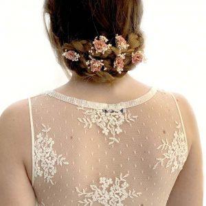 Horquillas Rosa Nude Flor de Yute